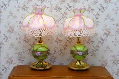 Miniature lampe sæt med stofskærme